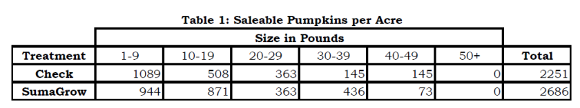SumaGrow Increased Pumpkin Economic Benefit by $3,484 per Acre pic 1