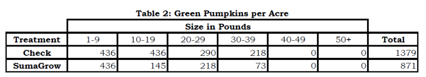 SumaGrow Increased Pumpkin Economic Benefit by $3,484 per Acre pic 2